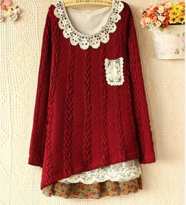 Cable-Knit Peplum Hem Sweaterred