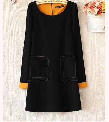 contrast cuff dress b