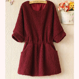 elbow-sleeve-smocked-waist-furry-tunic