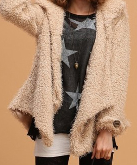 sweet irregular fluffy long sleeve coat
