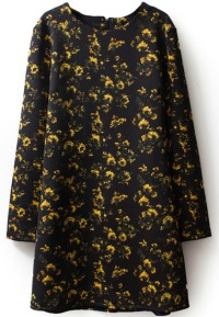 Petite Black and Yellow autumn dress