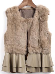 sleeveless rabbit fur coat