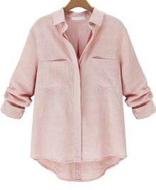 casual lapel shirt powder pink