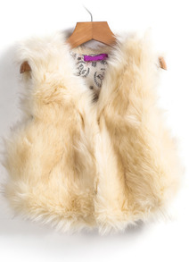 sleeveless fur vest apricot