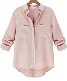 casual lapel shirt powder pink
