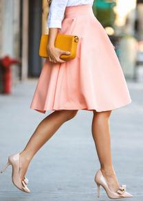 salmon flare skirt