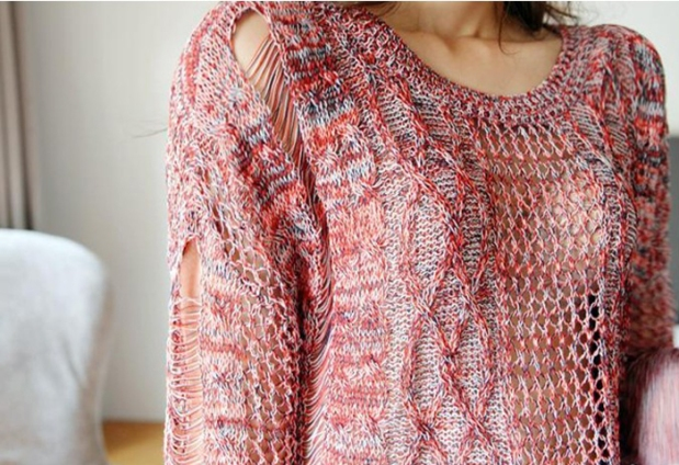 hollow-netted sweater