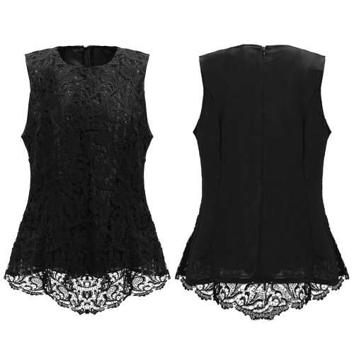 sheer laced top black