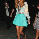 la-modella-mafia-Rihanna-clubbing-street-style-for-a-night-out-in-a-Balmain-printed-shirt-and-mint-green-leather-mini-circle-skirt-with-a-gld-body-chain-2