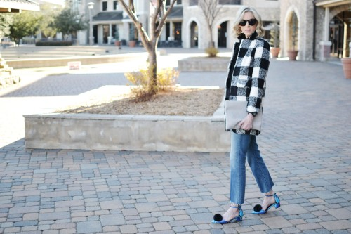 Goodnight-Macaroon-black-and-white-plaid-coat-and-black-sweater-Mother-cropped-flare-jeans-pom-pom-shoes-Sole-Society-conversation-clutch