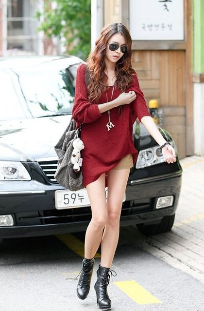 loose knit sweater red