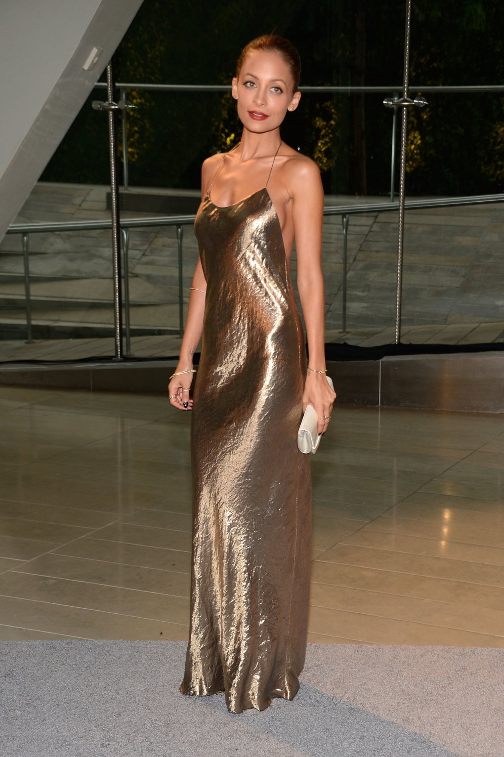 Nicole-Richie-golden-girl-metallic-slip-dress-Marc