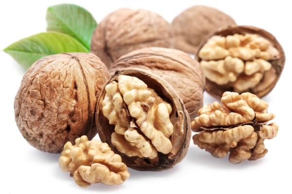 Walnuts with leaf